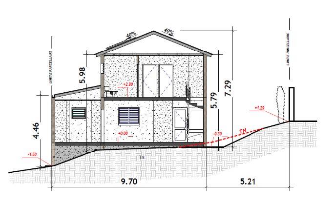 PCMI 3 : plan en coupe du terrain et de la construction